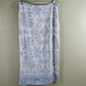 Evan Picone Linen Blend Faux Wrap Skirt 14